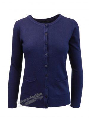 Cardigan tricotat fin, inchidere cu 9 nasturi, albastru