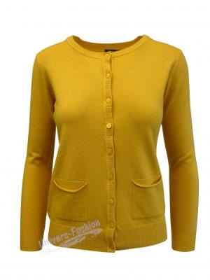 Cardigan tricotat fin, inchidere cu 9 nasturi, galben mustar