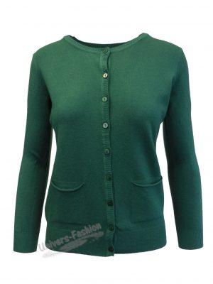 Cardigan tricotat fin, inchidere cu 9 nasturi, verde