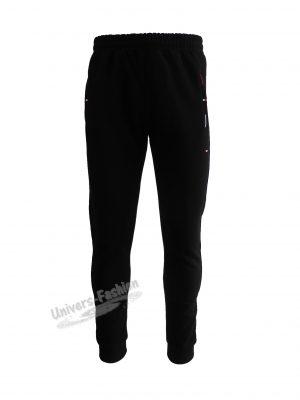 Pantaloni trening barbat, culoare neagra cu 2 buzunare laterale și un buzunar la spate cu fermoare, vatuit la interior