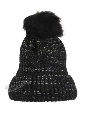 Caciula dama, groasa tricotata, cu ciucure de blana sintetica, negru