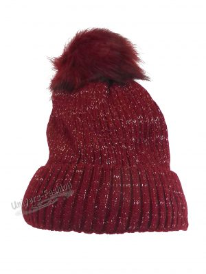 Caciula dama, groasa tricotata, cu ciucure de blana sintetica, rosu