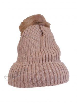 Caciula dama, groasa tricotata, cu ciucure de blana sintetica, roz