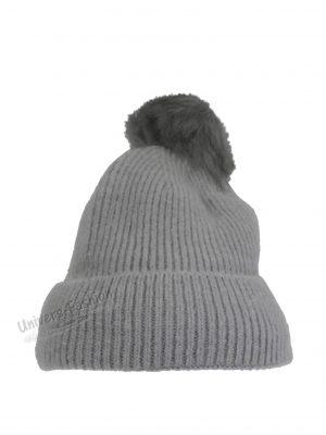 Caciula dama, tricotata, cu ciucure de blana sintetica, gri
