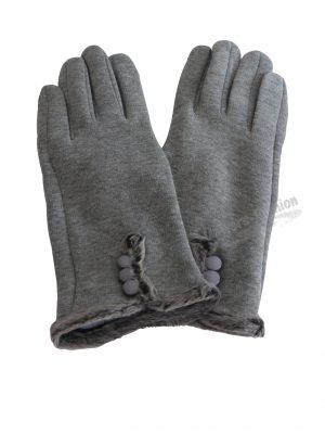 Manusi dama din material textil, functie pentru Touchscreen Telefon, aplicatie de blana sintetica la margine, gri deschis