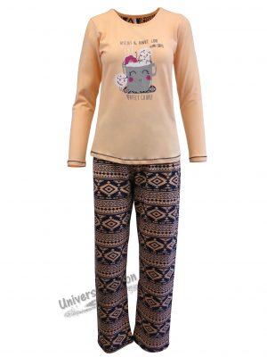 Pijama dama, bluza roz somon cu imprimeu 'PERFECT COUPLE', pantaloni albastru cu imprimeu etnic