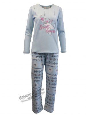 Pijama dama, bluza turcoaz cu imprimeu 'Sweet Dreams', pantaloni albastru deschis  cu imprimeu etnic