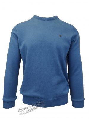 Pulover tricotat fin cu terminatii striate, cu decolteu la baza gatului, albastru cobalt