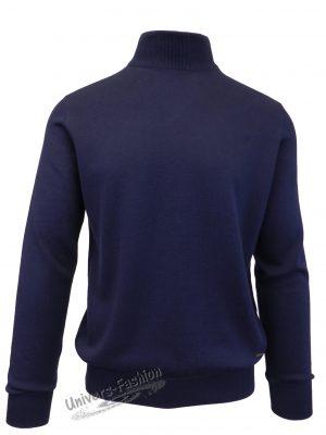 Pulover tricotat fin cu terminatii striate, guler inalt, albastru inchis