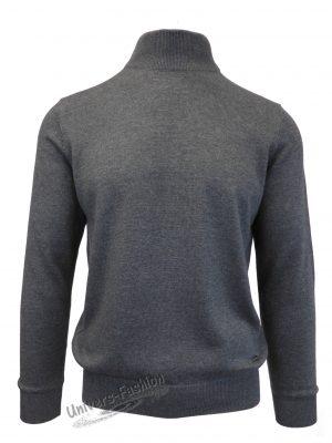 Pulover tricotat fin cu terminatii striate, guler inalt, antracit