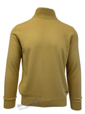 Pulover tricotat fin cu terminatii striate, guler inalt, galben mustar