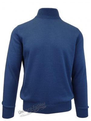 Pulover tricotat fin cu terminatii striate, guler inalt, indigo