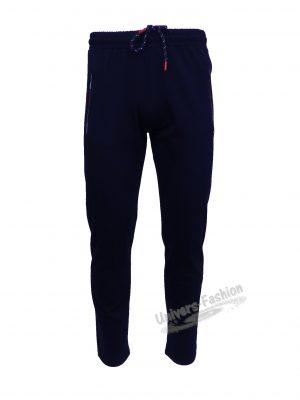 Pantaloni trening barbat, 2 buzunare laterale și un buzunar la spate cu fermoare, culoare albastru, regular fit