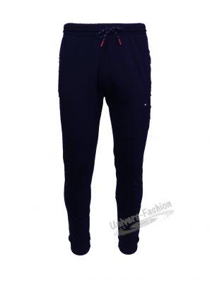 Pantaloni trening barbat, 2 buzunare laterale și un buzunar la spate cu fermoare, culoare albastru, slim fit