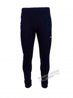 Pantaloni trening barbat, culoare albastru, slim fit, 2 buzunare laterale și un buzunar la spate cu fermoare