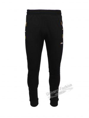 Pantaloni trening barbat, culoare neagra, slim fit, 2 buzunare laterale și un buzunar la spate cu fermoare