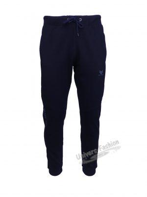 Pantaloni trening barbat, regular fit, culoare albastru, 2 buzunare laterale cu fermoare