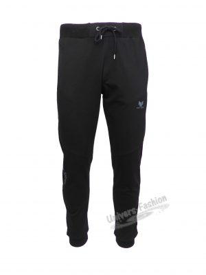 Pantaloni trening barbat, regular fit, culoare neagra, 2 buzunare laterale cu fermoare