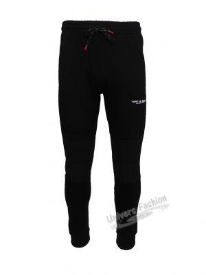Pantaloni trening barbat, slim fit, culoare neagra, 2 buzunare laterale și un buzunar la spate cu fermoare