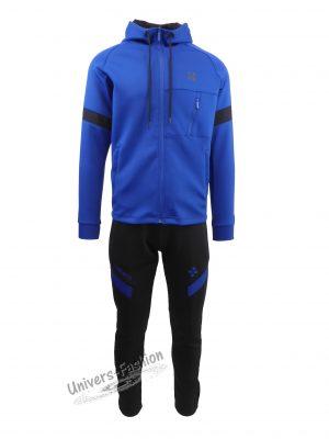 Trening barbat, din silon, jacheta culoare albastru deschis, cu 3 buzunare cu fermoare, pantaloni albastru inchis cu 2 buzunare cu fermoare