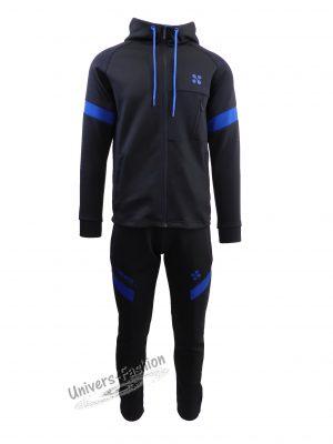 Trening barbat, din silon, jacheta culoare albastru inchis, cu 3 buzunare cu fermoare, pantaloni albastru inchis cu 2 buzunare cu fermoare