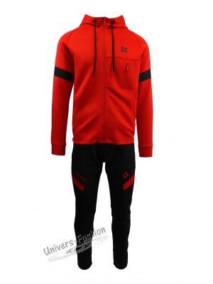 Trening barbat, din silon, jacheta culoare rosu, cu 3 buzunare cu fermoare, pantaloni negru cu 2 buzunare cu fermoare