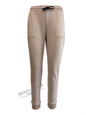 Pantaloni trening dama, bej cu 2 buzunare
