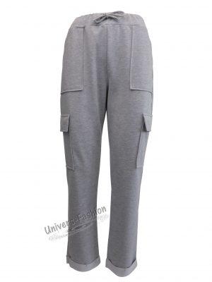 Pantaloni trening dama, culoare gri deschis cu 4 buzunare
