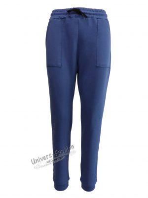 Pantaloni trening dama, indigo cu 2 buzunare