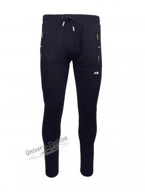 Pantaloni trening barbat, din silon, 2 buzunare laterale și un buzunar la spate cu fermoare, culoare albastru, slim fit