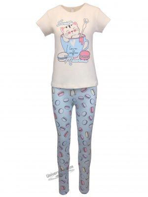Pijama dama, bluza bej cu imprimeu pisica si colanti albastru deschis