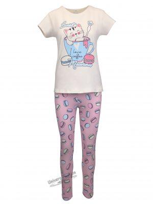 Pijama dama, bluza bej cu imprimeu pisica si colanti roz