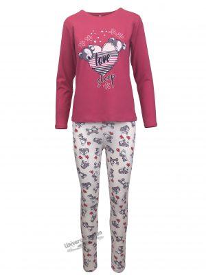 "Pijama dama, bluza fucsia cu imprimeu ""love sleep"" si colanti bej"