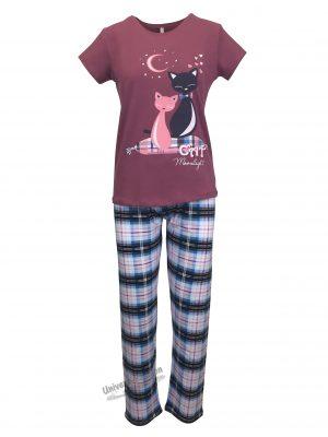 Pijama dama, bluza mov cu imprimeu pisici si pantaloni albastru