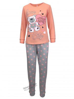 Pijama dama, bluza oranj cu imprimeu ursulet si pantaloni gri