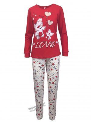 Pijama dama, bluza rosu cu imprimeu ursuleti si pantaloni bej