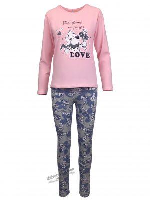 "Pijama dama, bluza roz cu imprimeu ""These flowers are for you"" si colanti gri"