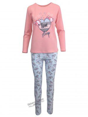 "Pijama dama, bluza roz somon cu imprimeu ""love sleep"" si colanti albastru deschis"
