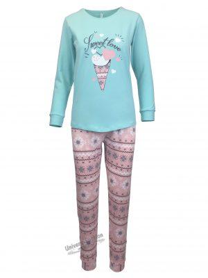 "Pijama dama, bluza verde cu imprimeu ""Sweet Love"" si pantaloni roz"