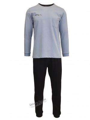Pijama pentru barbat, bluza albastru deschis cu un buzunar pe piept, pantaloni lungi albastru inchis