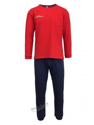 Pijama pentru barbat, bluza rosu cu un buzunar pe piept, pantaloni lungi indigo
