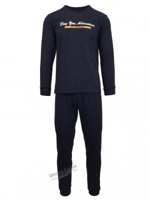 "Pijama pentru barbat, culoare albastru inchis, bluza cu imprimeu ""Day you advanture"" pe piept"