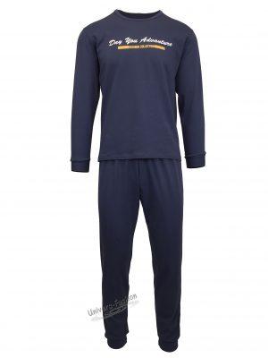 """Pijama pentru barbat, culoare indigo, bluza cu imprimeu """"Day you advanture"""" pe piept"""