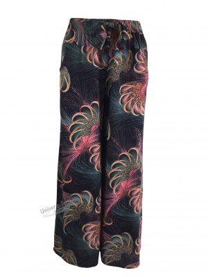 Fusta-pantalon, albastru cu imprimeu abstract multicolor, 2 buzunare, cordon și elastic la talie