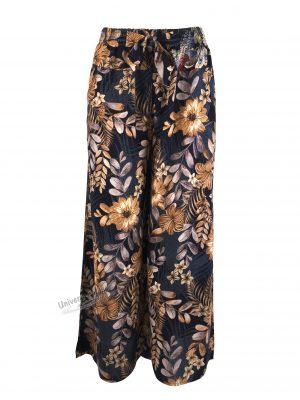 Fusta-pantalon, albastru cu imprimeu floral, 2 buzunare, cordon și elastic la talie