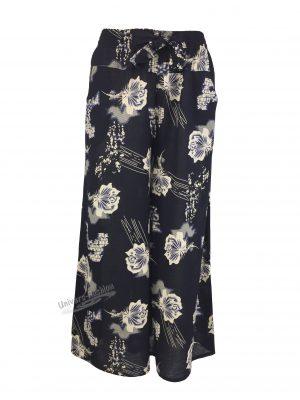 Fusta-pantalon, albastru cu imprimeu floral bej, 2 buzunare, cordon și elastic la talie