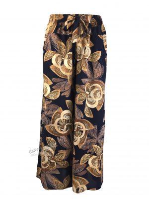 Fusta-pantalon, albastru cu imprimeu frunze maro, 2 buzunare, cordon și elastic la talie