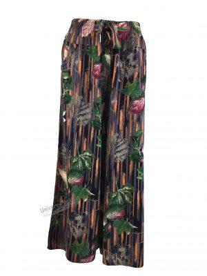 Fusta-pantalon, albastru cu imprimeu frunze multicolor, 2 buzunare, cordon și elastic la talie