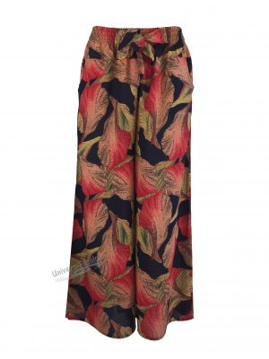Fusta-pantalon, albastru cu imprimeu frunze rosu, 2 buzunare, cordon și elastic la talie