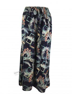 Fusta-pantalon, albastru cu imprimeu fulgi, 2 buzunare, cordon și elastic la talie